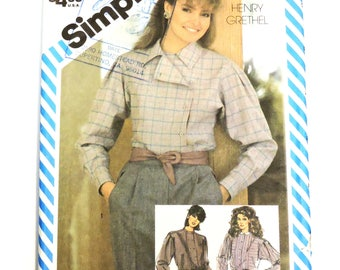 Simplicity 6066 Blouse Pattern Misses Size 10,Vintage 1983 Henry Grethel Loose Fitting Long Sleeve Shirt,Collar Options Uncut itsyourcountry