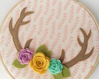 Floral Antlers. Felt Antlers with Flowers. Rustic Nursery Decor. Woodland Nursery Art. Boho Antler Decor. Kids Room Decor. Deer Antler Art.