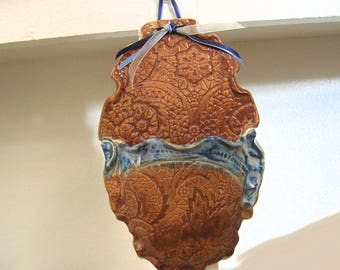 Wall Pocket, Stoneware Pottery Wall Sconce, Small Oval, Cloudy Blue, Burnt Orange