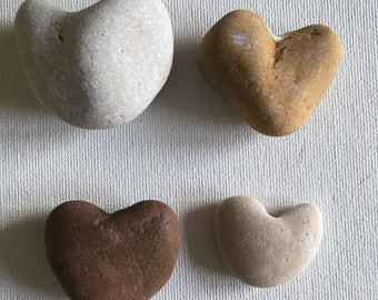 Four Natural Beach Pebble Hearts