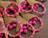 2 Lehenga Dupatta Latkans-Beads Stones Mirror Ethnic Tassel-Gypsie Kutch Tassels-Pom Poms Tassels-Holiday Decoration-Hangings-X10014