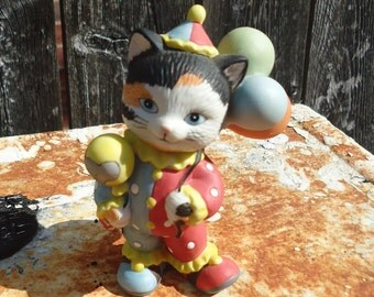 Vintage Bronson Collectibles Clown Cat with Balloons 1993
