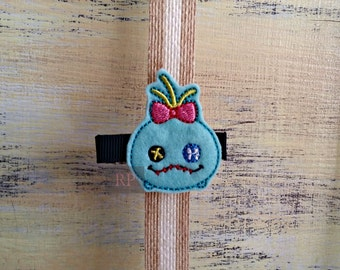 Felt Scrump on Alligator Clip - Lilo and Stitch Tsum Tsum Clip - Embroidered Felt - Hair Clip
