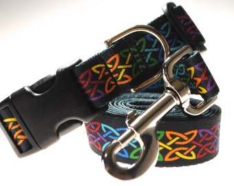"""Celtic Knot Collar and Leash Combination - 1"""" Width"""