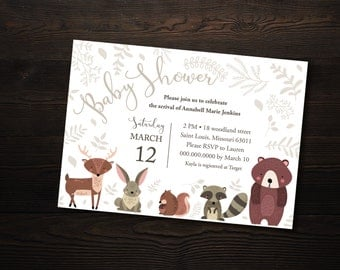 woodland creatures baby shower invitation card woodland forest animal shower custom pdf