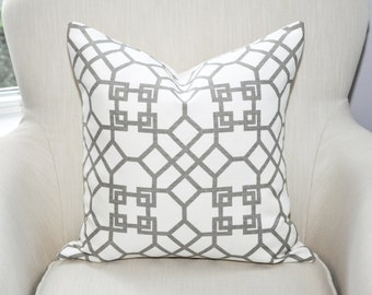 Kravet Windsor Smith Pelagos Pillow Cover -- Haze Gray / Ivory White -- Zipper Closure