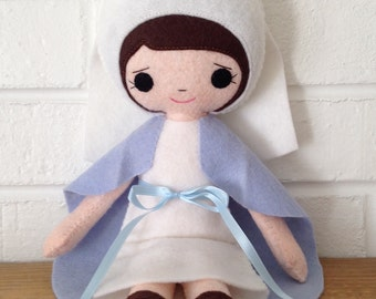 Catholic Toy Doll - Virgin Mary - Wool Felt Blend - Catholic Toy - Felt Doll
