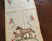 Hand embroidered  horse design on a dresser scarf/table runner embroidered