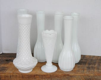 Vintage Milk Glass Bud Vases Mix and Matched Set of 7