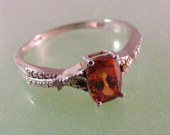 Vintage  Oxblood Citrine  Sterling Silver Ring.....  Lot 5086