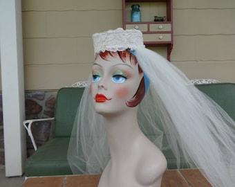 Vintage wedding veil 1940's head piece bridal formal hair accessories art deco