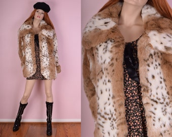 90s Spotted Faux Fur Coat/ Medium/ 1990s/ Jacket