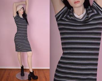 90s Striped Ribbed Tshirt Dress/ Small/ 1990s