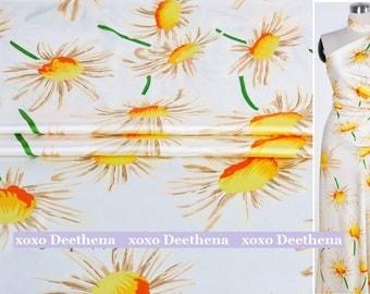 Stretchy Silk Satin Fabric , sun flowers digital printed fashion design silk supplies