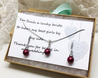 Bridesmaid jewelry set, Bridesmaid gift, bridesmaid necklace, bridesmaid earrings, Wedding jewelry set, Red Wine pearl necklace earrings