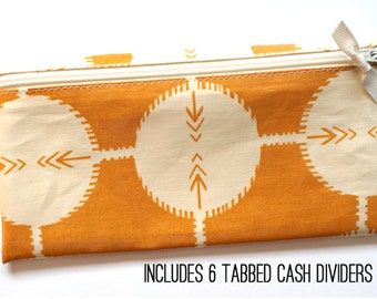 Cash organizer for Dave Ramsey budget | 6 wallet dividers | saffron and cream laminated cotton