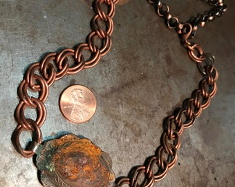 Vintage antiqued RustY concho Choker on vintage copper chain necklace Adjustable size