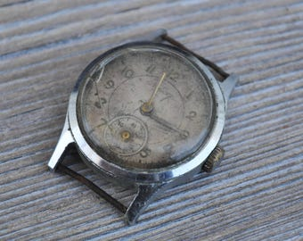 Vintage 1953 Soviet Russian wrist watch for parts. Didn't work.