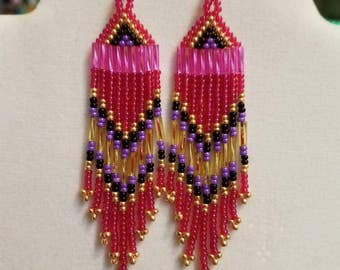 Native American Style Seed Bead Earrings, Pink, Purple, Gold, Black 3 Brick Stitch Gypsy Boho, Southwester, Tribal, Peyote  Great Gift