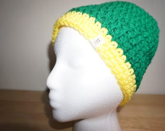 Green Beanie with a Yellow Brim