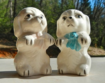 Vintage Salt and Pepper Shakers Ceramic Puppies Dogs