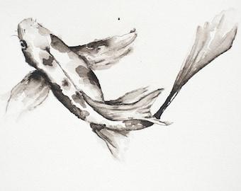 koi fish Art, Pen, Ink and Water koi fish, Original Painting 12x9 Inches