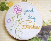 Embroidery Pattern PDF  Good Day Sunshine Flowers and Spirals