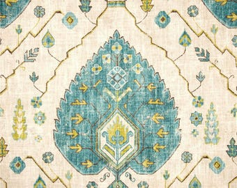 """One  Custom 78""""L x 72""""W Shower Curtain   -  Aubusson  Damask  -  Citrine, Turquoise, Charcoal  Grey Natural."""