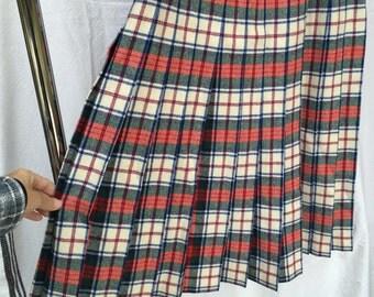 Pendleton McDuff skirt McDuff dress tartan pleated long skirt size 10 red cream wool