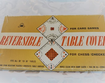 Vintage Vinyl Bridge Card Game Table Cloth - Card Table Cover - Corner Ties - Checkers/Chess