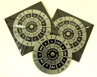 Chord Transposer, Chord Wheel, Musical aid for music theory, silver and black, 95mm, REDUCED PRICE