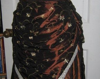 "Brown embroidered taffeta bustle skirt (32"" waist)"