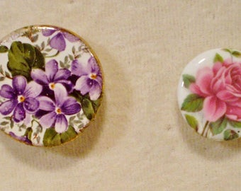 2 Antique Birchcroft Porcelain Buttons From England
