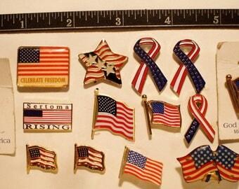 14 Vintage Enamel Flag Hat/Lapel/Pin/Tie Tacks