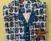 XL 1950s 1960s Hawaiian Shirt Blue TIki Gods Surf Pacific Sportwear MFG Co