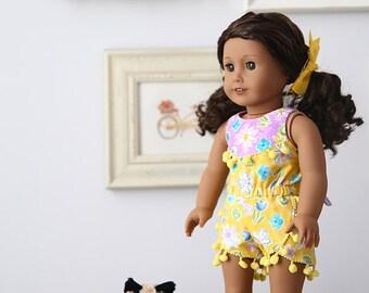 "Sommer 18"" Doll Romper PDF Pattern Tutorial,  Ebook, Epattern, Sizes 18"" Doll - American Girl Doll"