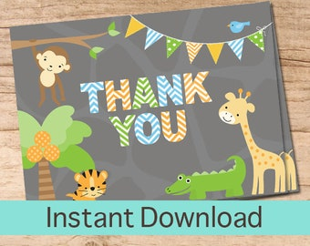 Thank You Card / Jungle Safari Printable Thank you Cards / Jungle Instant Download Thank You Card