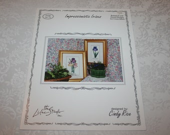 Cross Stitch Instructions Impressionistic Irises Flower Floral Designed by Cindy Rice
