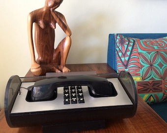 Vintage 60s 70s MOD Phone Space Age Roll Top Telephone MCM Midcentury Mid Century Modern Mad Men Western Electric Cylinder Telstar Lucite