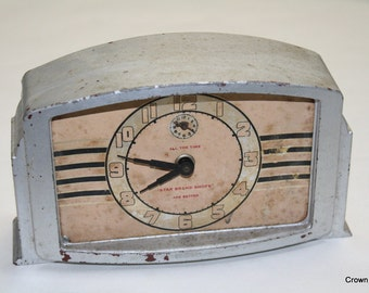 Vintage Lux Clock Mfg Co. Alarm Clock - Star Brand Shoes - Waterbury Conneticut - Made in USA