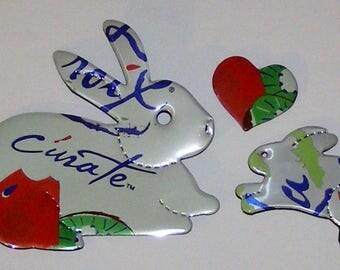 Bunny Rabbit and Heart Magnet Set - LaCroix Cúrate - Kiwi Watermelon
