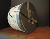 Vintage Millinery Box / Cardboard Hat Box / Charcoal Black and Pink Hatbox / Mid Century