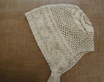 Antique Victorian Edwardian Baby  Bonnet / Hand Crochet Cloche Cap Bonnet / Victorian Cap / Christening Bonnet