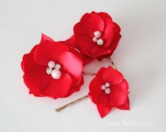 Red Hair Flowers/Bridal Bobby Pins/ Set of 3/ Wedding Hair Pins/ Handmade Accessories