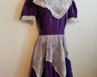 Vintage Partner Please by Malco Modes Square Dance Purple White Lace Cotton Dress Size 16 USA Made
