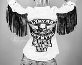Lynyrd Skynyrd Biker Fringe Leather Studded Denim Shirt