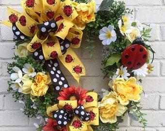 Ladybug Grapevine Wreath. Ladybug Wreath, Summer Wreath, Spring Wreath