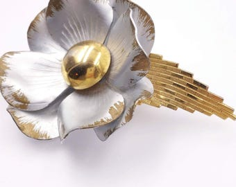 Vintage Silver and Gold Tone Flower Pin Metal Enamel Flower Brooch 1960's 1970's Flower Power Brooches