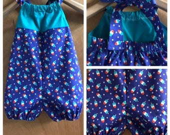 Popsicle Print, 4th of July, Cotton Bubble Romper, size 3t