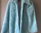 Vintage 1990's Club Kid Electric Blue Faux Fur Fuzzy Jacket by Aziz, Size M